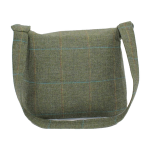 Olive British Tweed Crossbody Bag - Back View