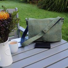 Load image into Gallery viewer, Messenger bag in olive green British tweed