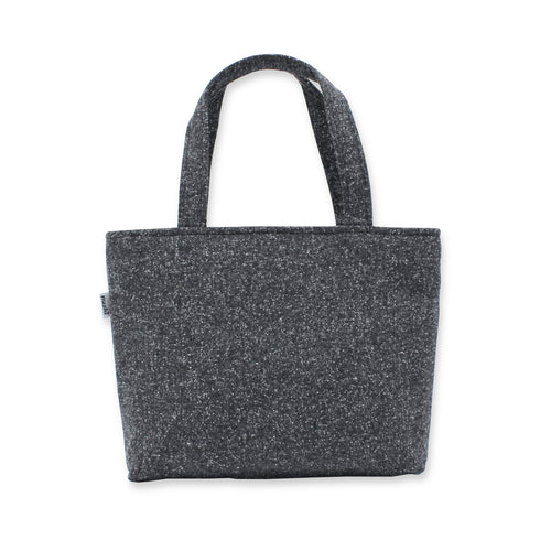 Grey Handbag in Speckled Wool with Zip