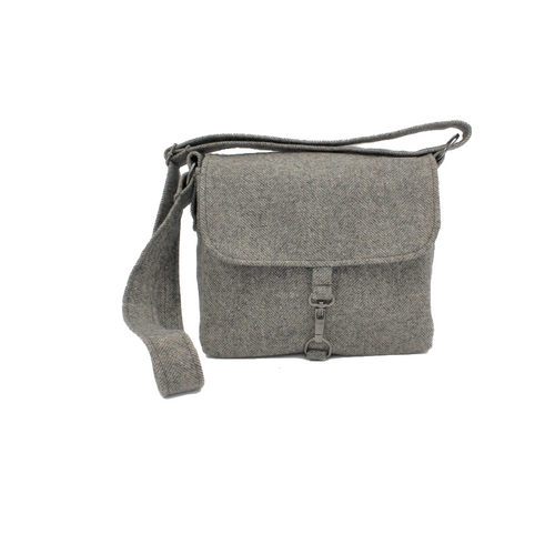 Grey Tweed Adjustable Strap Shoulder or Cross Body Bag