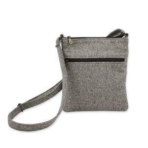 Neutral Grey Herringbone British Tweed Crossbody Bag