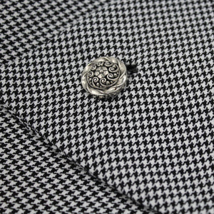 Houndstooth check scarf button detail