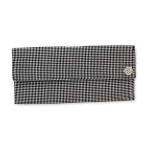 Houndstooth check pattern clutch bag with brooch