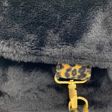 Load image into Gallery viewer, Black Faux Fur Satchel Design Bag with Golden Sand Leopard Strap