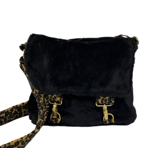 ivy faux fur satchel bag