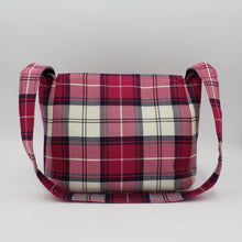 Load image into Gallery viewer, Pink Tartan Small Messenger Bag Back View