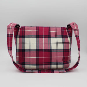 Pink Tartan Small Messenger Bag Back View