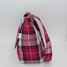Load image into Gallery viewer, Pink Tartan Small Messenger Bag Side View