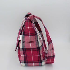 Pink Tartan Small Messenger Bag Side View