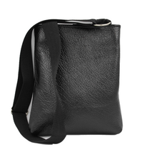 Load image into Gallery viewer, black leather document bag with silver nickel hardware