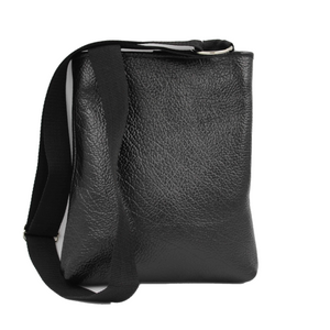 black leather document bag with silver nickel hardware