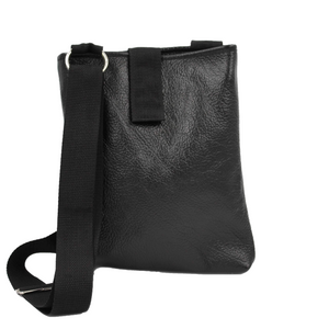 black leather document bag
