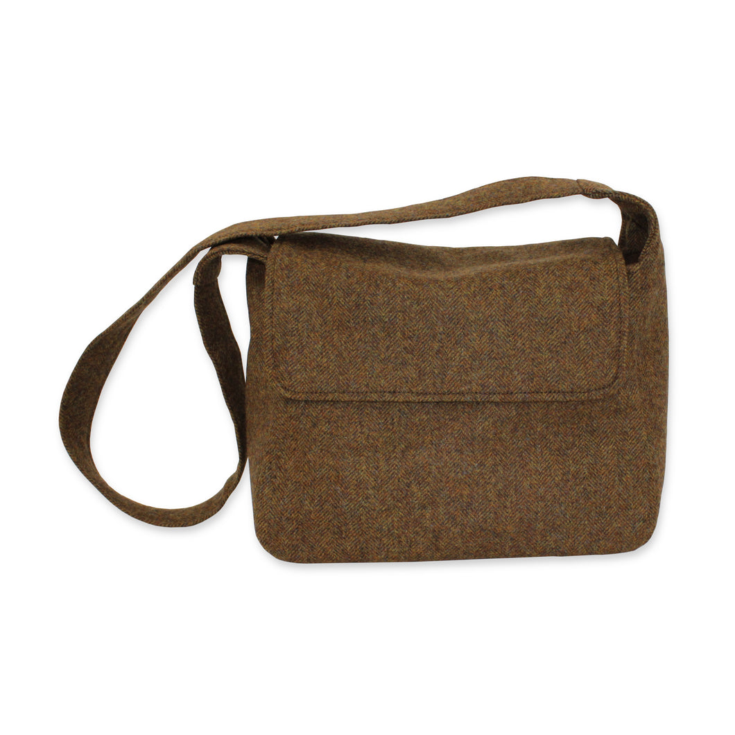 British Tweed Crossbody Bag - Chestnut Brown