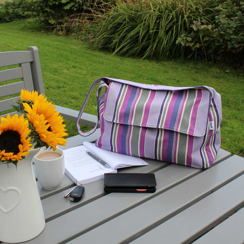 Messenger bag in purple striped cotton canvas