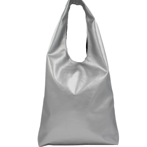 Metallic Silver Slouch Shoulder Bag - Faux Leather