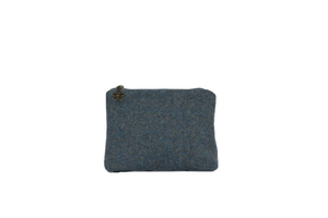 Misty Sea Blue British Tweed Cosmetic Purse/Bag Tidy