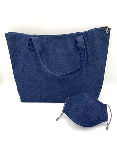Tailored Face Mask in Navy Denim Cotton Canvas