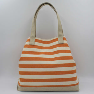 Orange striped beach bag