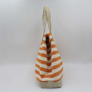 Orange striped beach bag side view