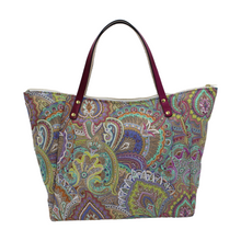 Load image into Gallery viewer, Canvas Shoulder Bag - Floral Paisley Print Shopper Bag with Zip