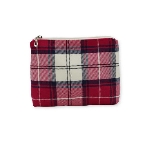 Pink tartan check makeup bag