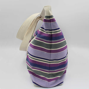 Purple striped extra large canvas beach bag side view
