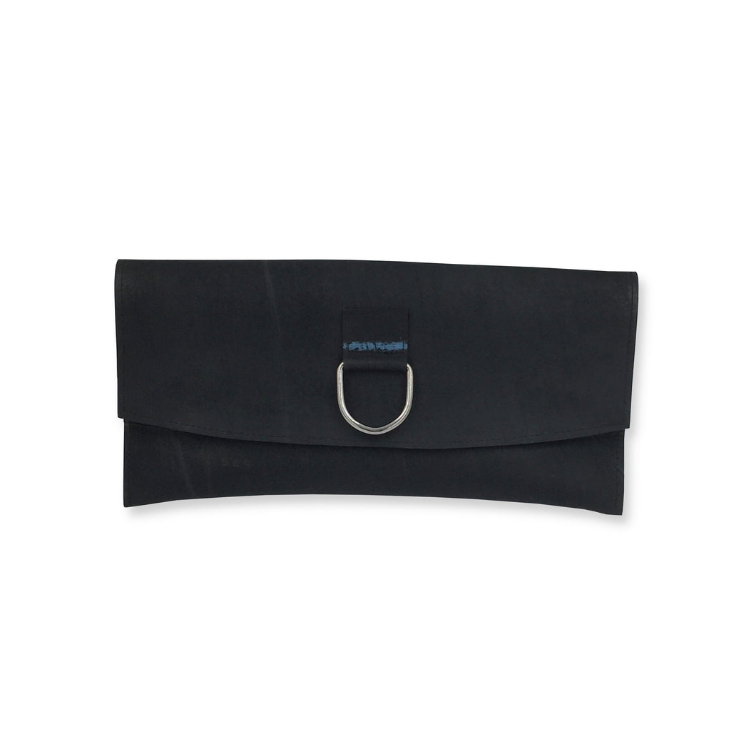 Recycled inner tube clutch bag with blue lining