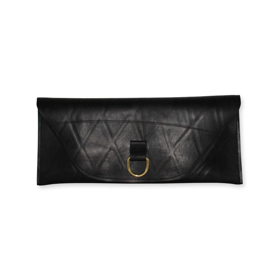 Recycled inner tube clutch bag