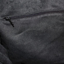 Load image into Gallery viewer, Black Suede Effect Lining Detail showing Internal Zipped Pocket