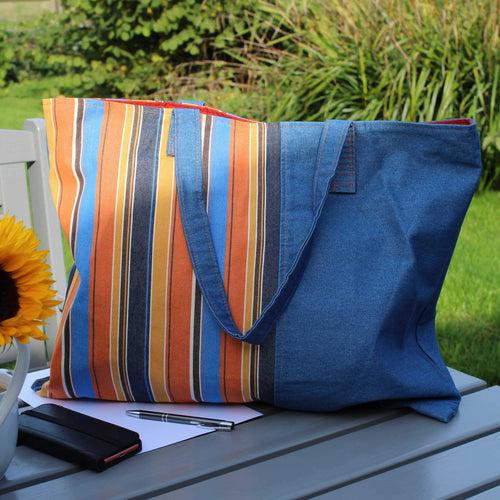 Shopper bag in blue denim & blue & orange striped canvas