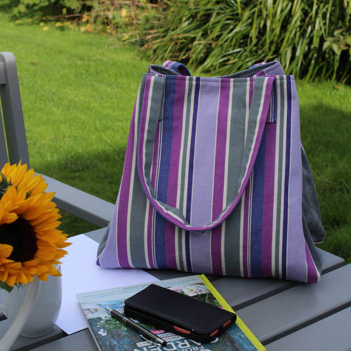 Purple striped shopper bag