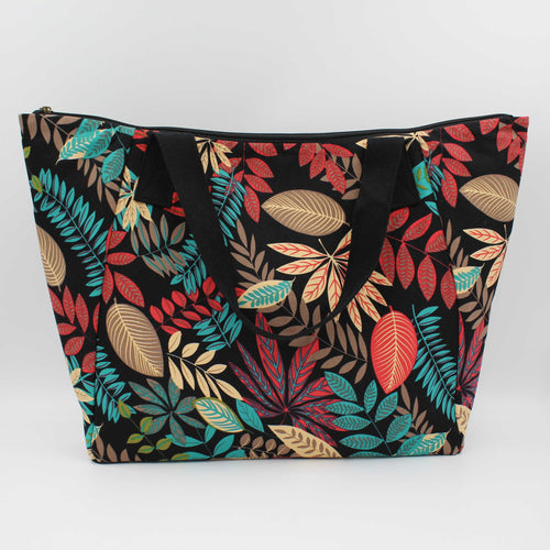 Canvas Shoulder Bag - Tropical Leaf Print Shopper Bag with Zip