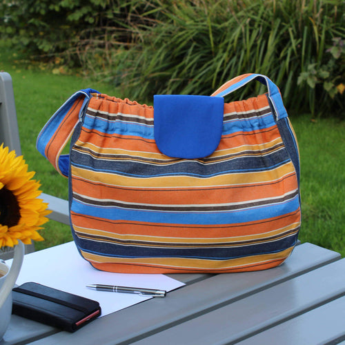 Slouch bag in orange and blue cotton canvas
