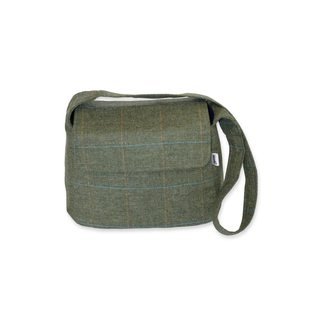 Small crossbody bag in olive green British tweed