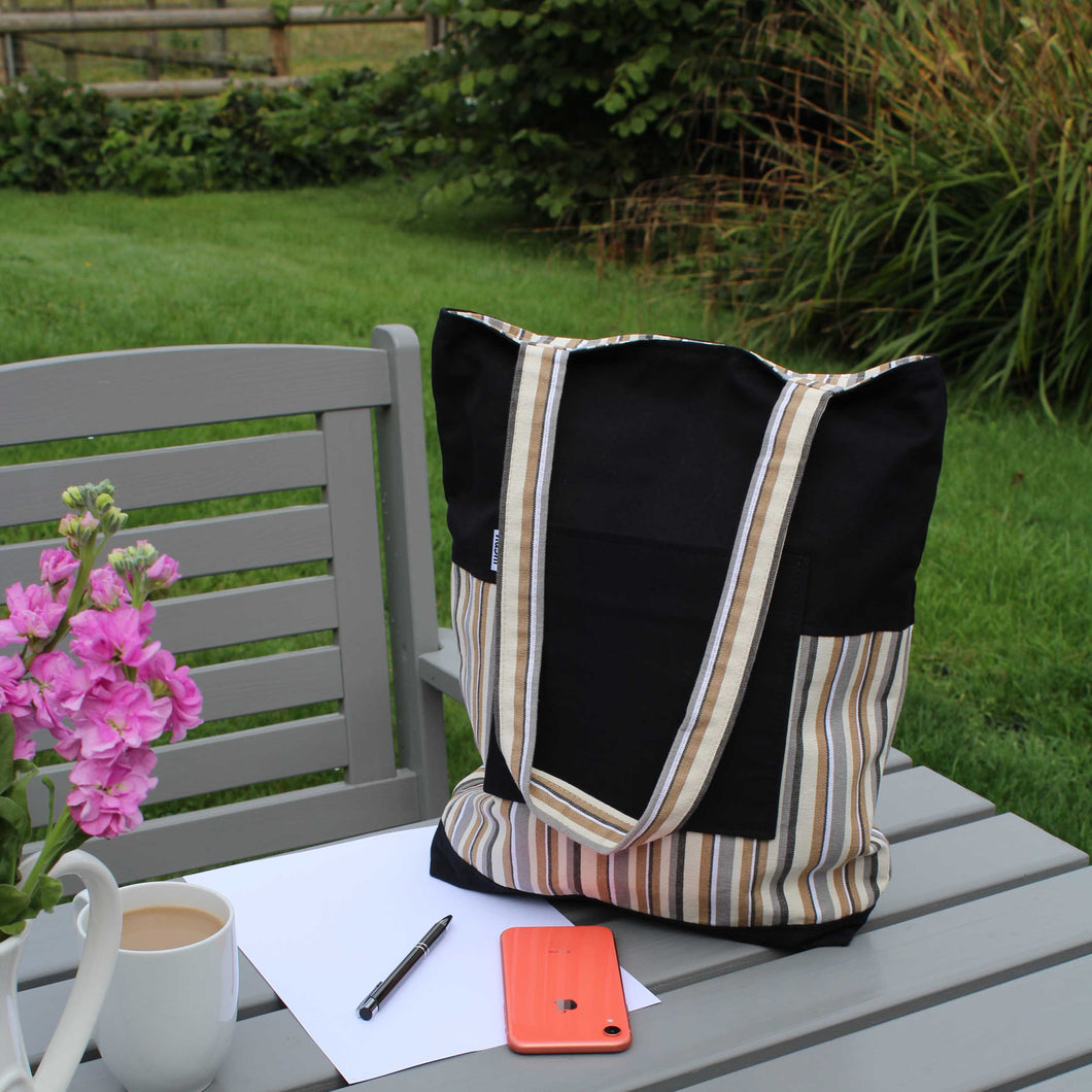 Tote bag with long handles in black and neutral stripe