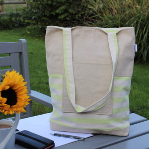 Tote bag with pocket in lime green stripe