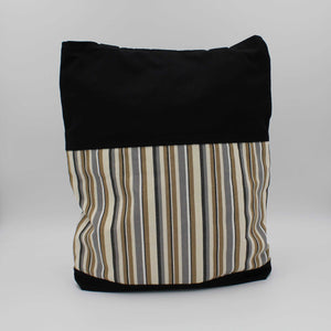 Black & Beige Striped Shoulder Bag Back View