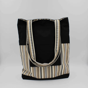 Black & Beige Striped Shoulder Bag