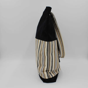 Black & Beige Striped Shoulder Bag Side View