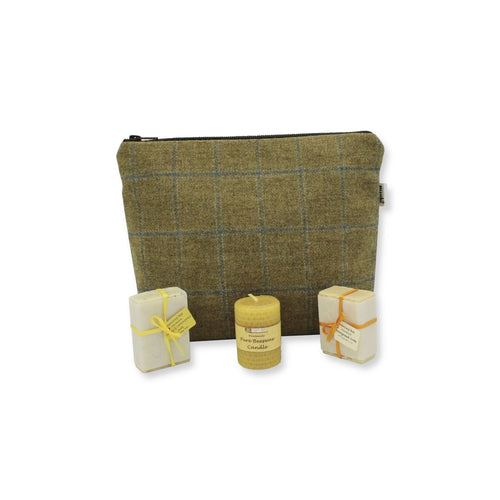 Green British Tweed Cosmetic Bag with Soaps & Candle Gift Set