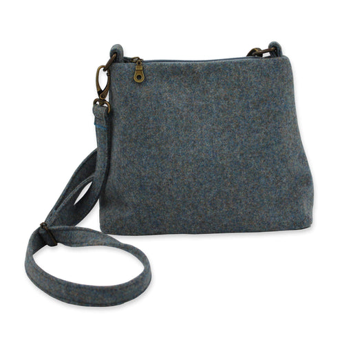 British Tweed handbag in misty sea blue tweed