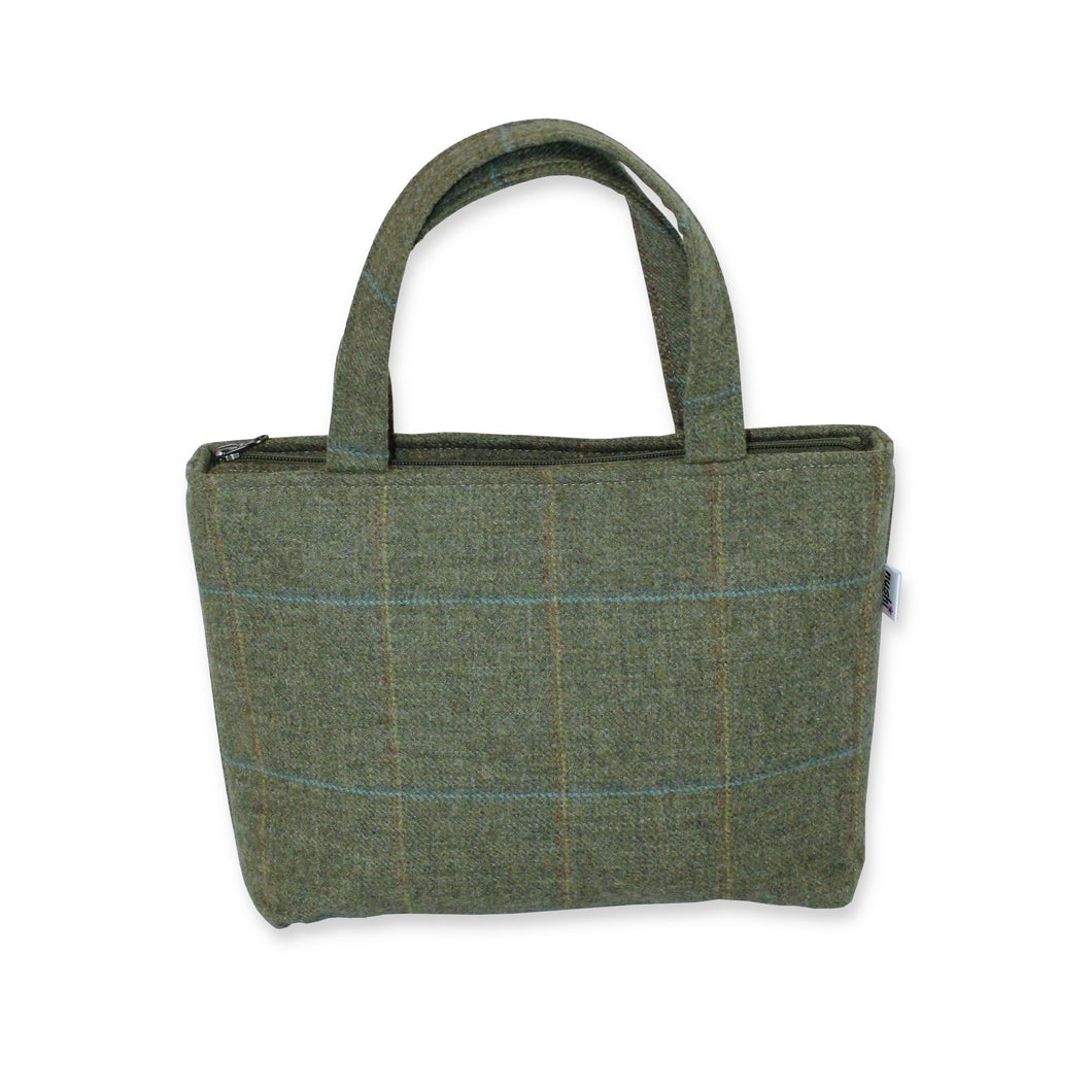 Tweed Handbag - Olive Green British Tweed Tote with Zip