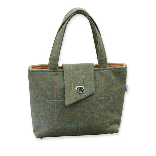 Green British Tweed Tote Bag with Buckle
