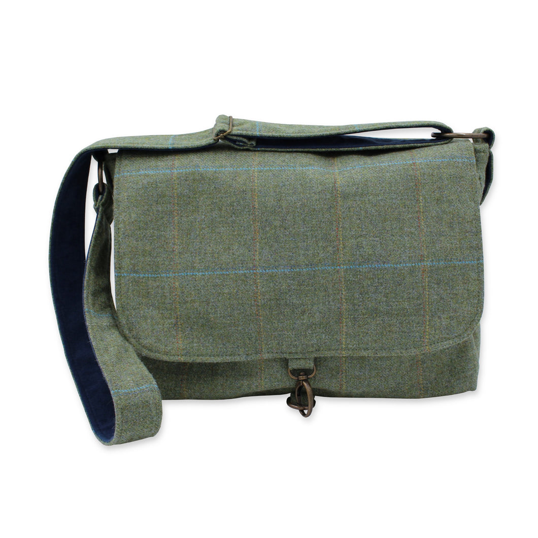 Tweed laptop satchel bag