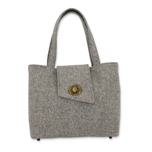 Tweed Shoulder Bag in Grey British Tweed