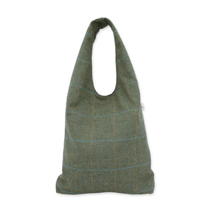 Large slouch bag in sage green British tweed