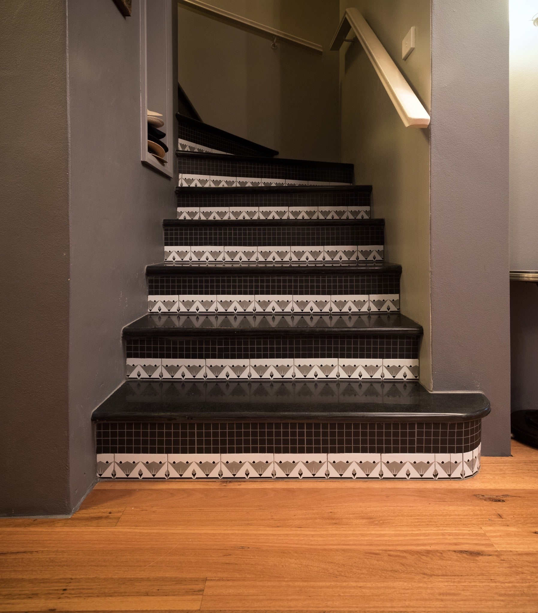 Art deco riser tiles in South Yarra home