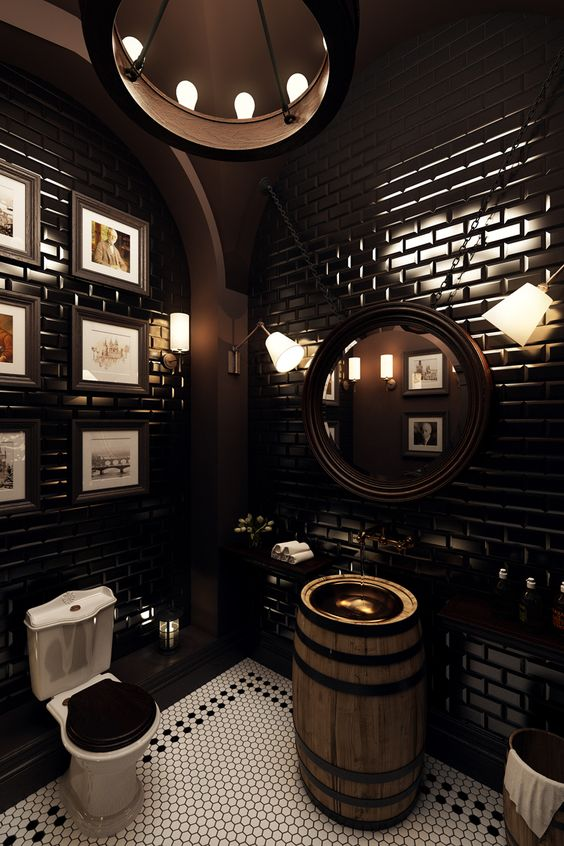 Black subway wall tile in Modern Victorian bathroom