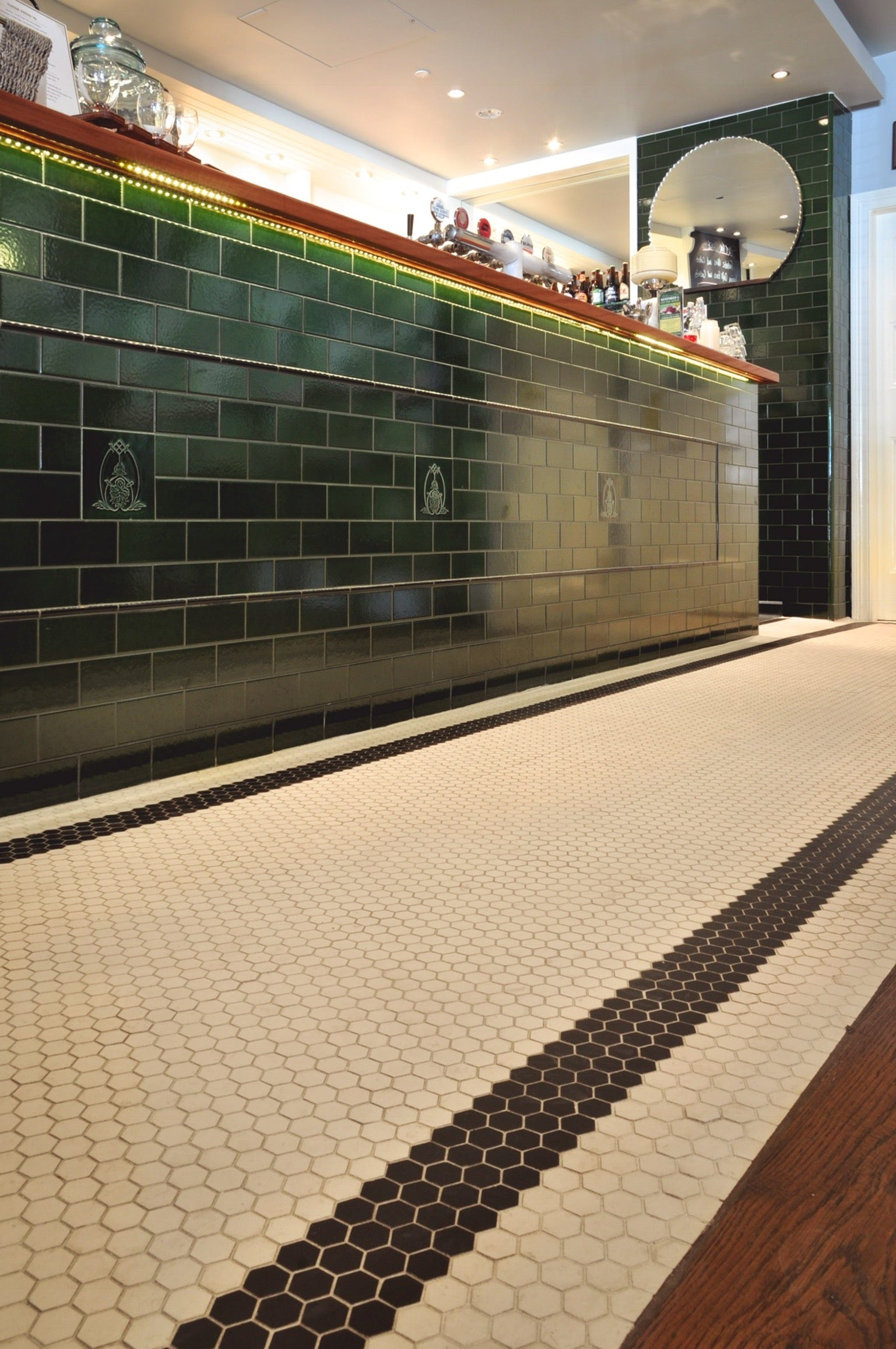 Green subway tiles bar front - The Annandale