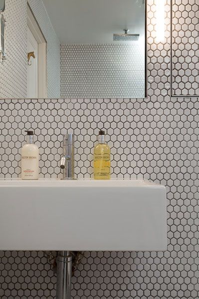 hex tile bathroom mosaic tiles style guide olde tiles 13109 | Hexagon bathroom wall splashback